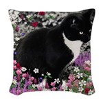 Freckles Tux Cat Flowers II Woven Throw Pillow