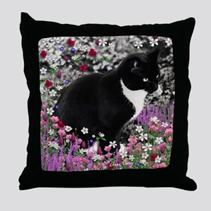 Freckles Tux Cat Flowers II Throw Pillow