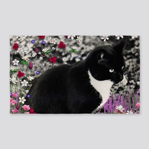 Freckles Tux Cat Flowers II 3'x5' Area Rug