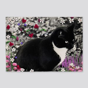 Freckles Tux Cat Flowers II 5'x7'Area Rug