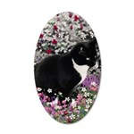 Freckles Tux Cat Flowers II 35x21 Oval Wall Decal