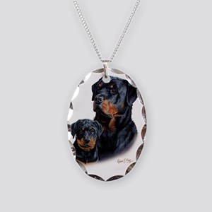 Rottweiler  Pup Necklace Oval Charm