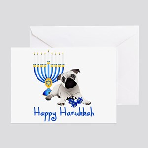 Hanukkah Pug w/Dreidels and Menorah Greeting Card