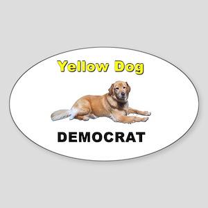 Yellow Dog Democrat Sticker (Oval)