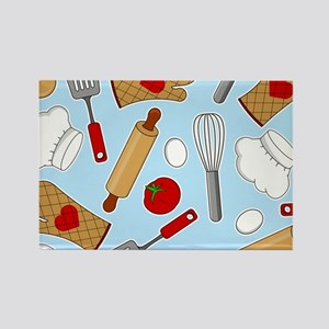 Cute Chef / Cook Love Pattern Blue Rectangle Magne