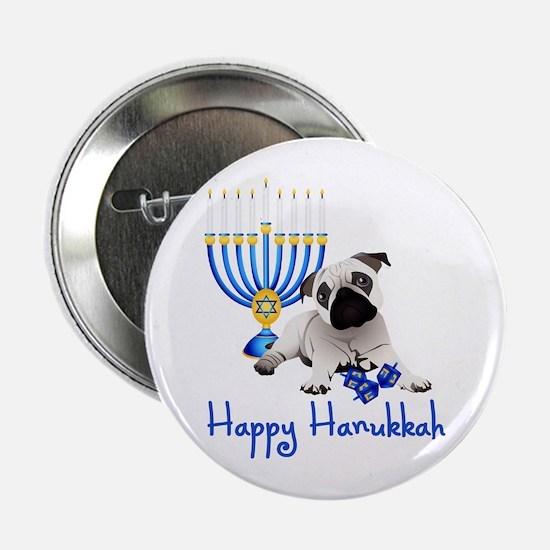 "Hanukkah Pug w/Dreidels and Menorah 2.25"" Button"