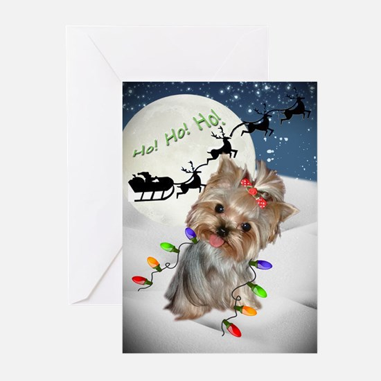 Yorkie Coming To Town Ho Ho Greeting Cards
