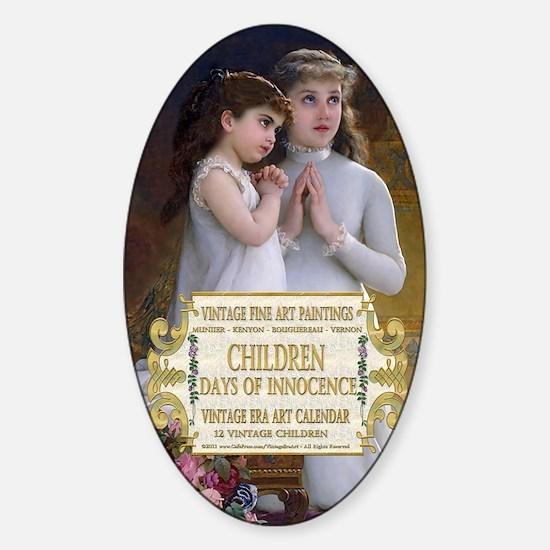1 A VINTAGE CHILDREN- MUNIER 2Girls Sticker (Oval)