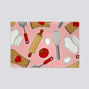 Cute Chef / Cook Love Pattern Pink Rectangle Magne