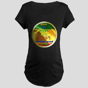 clock abatena enate button- Maternity Dark T-Shirt