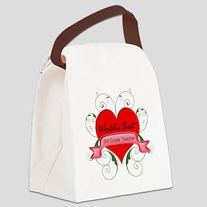 Worlds Best 3rd Teacher with hear Canvas Lunch Bag