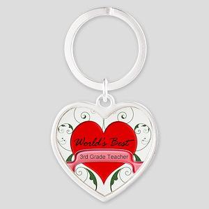 Worlds Best 3rd Teacher with heart Heart Keychain