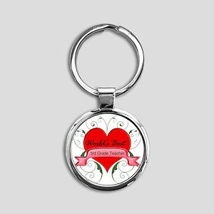 Worlds Best 3rd Teacher with heart Round Keychain