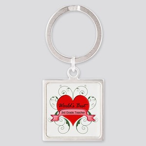 Worlds Best 3rd Teacher with heart Square Keychain