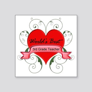 "Worlds Best 3rd Teacher wit Square Sticker 3"" x 3"""