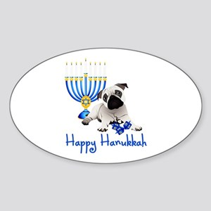Hanukkah Pug w/Dreidels and Menorah Sticker (Oval)