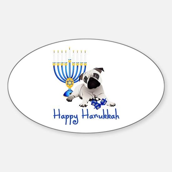 Hanukkah Pug w/Dreidels and Menorah Sticker (Oval)