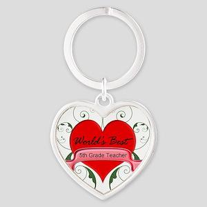 Worlds Best 5th Teacher with heart Heart Keychain