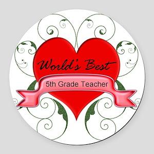 Worlds Best 5th Teacher with hear Round Car Magnet