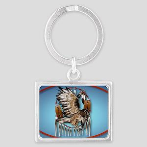 WallPeel Flying Hawk Oval Landscape Keychain