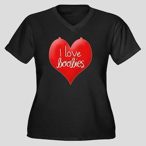 I love boobi Women's Plus Size Dark V-Neck T-Shirt