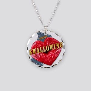 SWALLOWING---I-LOVE Necklace Circle Charm