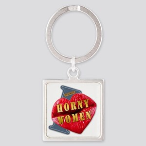 HORNYWOMEN---I-LOVE Square Keychain
