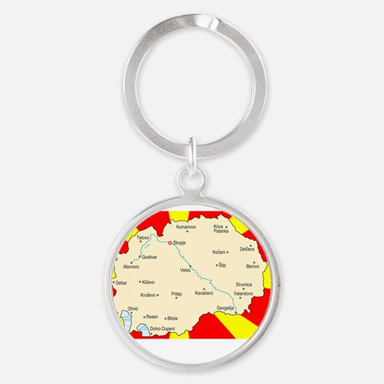 white imported from macedonia Round Keychain