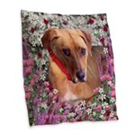 Trista, Rescue Dog in Flowers Burlap Throw Pillow