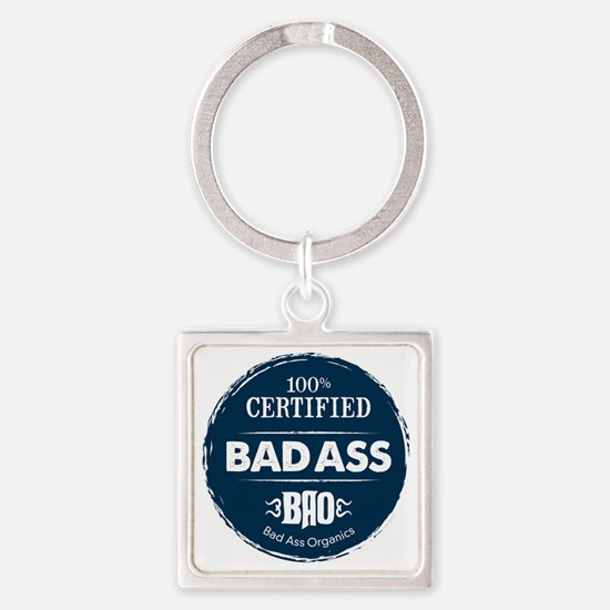 Bad_Ass_Certified_Blue_Sticker Square Keychain