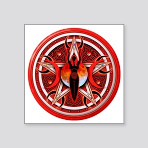 "Pentacle of the Red Goddess Square Sticker 3"" x 3"""