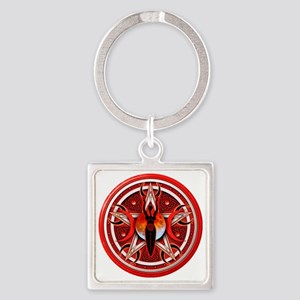 Pentacle of the Red Goddess Square Keychain