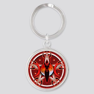 Pentacle of the Red Goddess Round Keychain