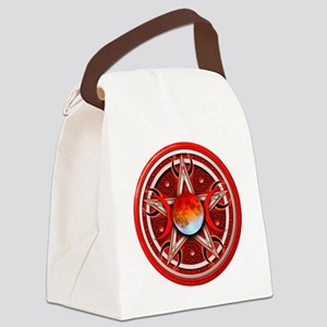 Red Triple Goddes Pentacle Canvas Lunch Bag