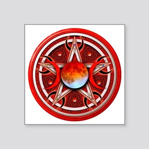 "Red Triple Goddes Pentacle Square Sticker 3"" x 3"""