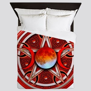 Red Triple Goddes Pentacle Queen Duvet