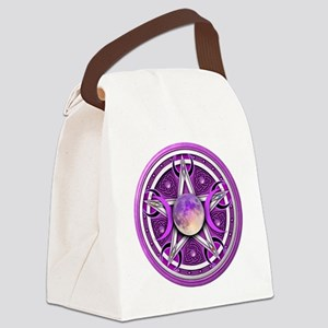 Purple Triple Goddess Pentacle Canvas Lunch Bag