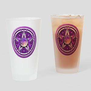 Purple Triple Goddess Pentacle Drinking Glass