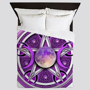 Purple Triple Goddess Pentacle Queen Duvet