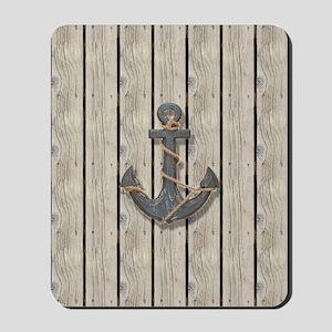 anchor beach wood grain nautical beach d Mousepad