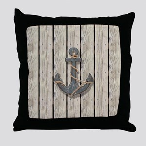 anchor beach wood grain nautical beac Throw Pillow
