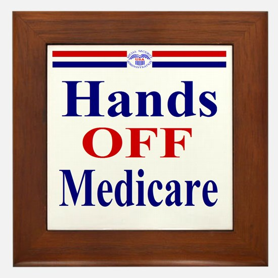 Hands OFF Medicare T-Shirt rwb Tshirt Framed Tile