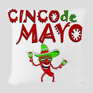 cinco de mayo 1 pepper Woven Throw Pillow
