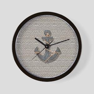 nautical anchor burlap beach decor Wall Clock
