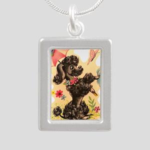Vintage Poodle Illustrat Silver Portrait Necklace