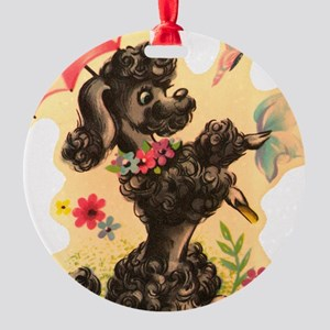 Vintage Poodle Illustration Round Ornament