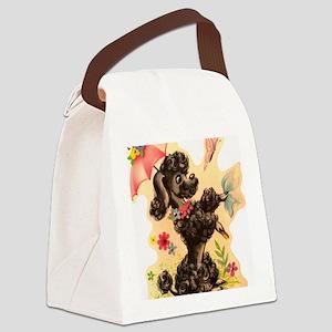 Vintage Poodle Illustration Canvas Lunch Bag