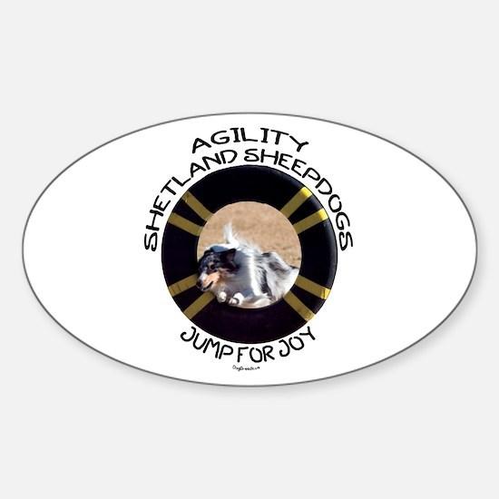 Agility Shetland Sheepdogs Jump Oval Decal