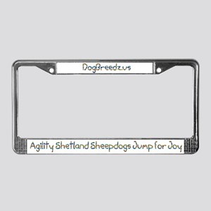 Agility Shetland Sheepdogs Jump License Plate Fram