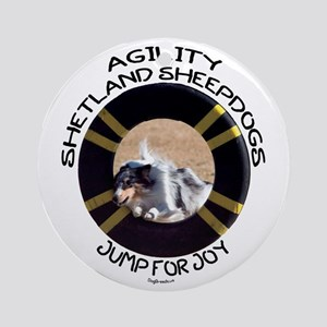 Agility Shetland Sheepdogs Jump Ornament (Round)